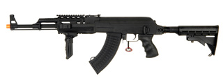 Cyma CM028C Tactical AK47 RIS Auto Electric Gun Metal Gear, ABS Body, Retractable LE Stock