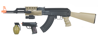 CYMA IU-AK47T TACTICAL AK47 AEG PLASTIC GEAR w/LASER, FLASHLIGHT, P618 PISTOL & 700-RD GRENADE BBs (COLOR: DARK EARTH & BLACK)