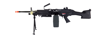 IU-M249 MKII M249 Metal Gear AEG w/ Bipod & Drum Magazine, Fixed Stock