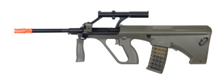 JG JG0449A AUG AU-2G Military AEG Metal Gear, Metal Upper Receiver, Polymer Body, Folding Forward Grip, Integrated Scope