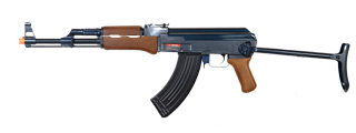 Golden Eagle JG JG0507MG AK-47S AEG Metal Gear, Polymer Body, Under Folding Stock, Wood Finish