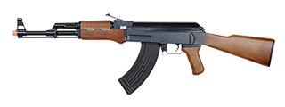 Golden Eagle JG JG6803 AK-47 AEG Metal Gear, Polymer Body, Fixed Stock, Wood Finish