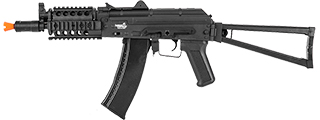 Lancer Tactical LT-07R AKS-74U RIS AEG Metal Gear, ABS Body, Side Folding Stock, 45 Degree Rail Mount